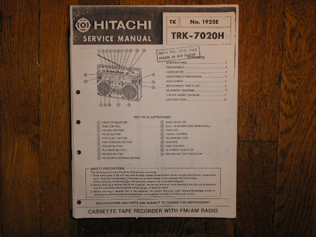 TRK-7020H CASSETTE RADIO Service Manual
