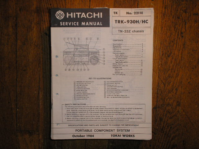 TRK-930H CASSETTE RADIO Service Manual