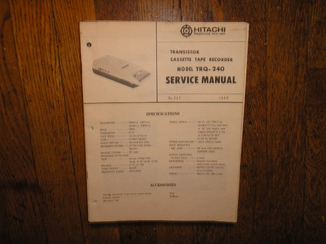 TRQ-240 Cassette Tape Recorder Service Manual