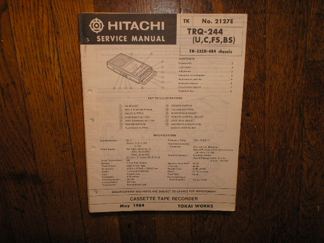 TRQ-244 U C FS BS Cassette Tape Recorder Service Manual