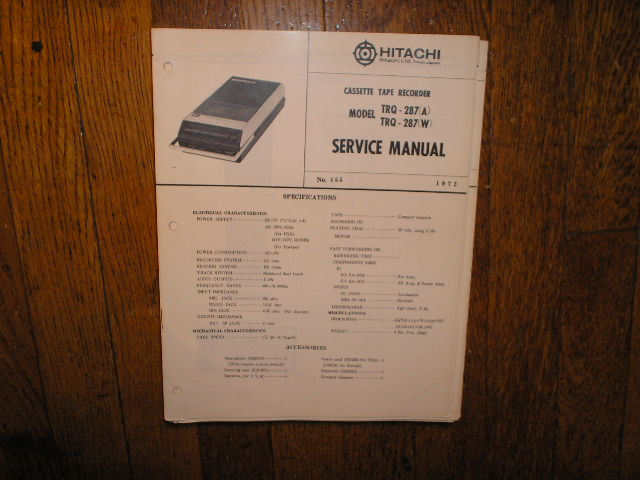 TRQ-287 A W Cassette Tape Recorder Service Manual