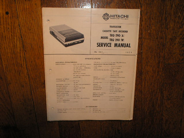 TRQ-290 A W  Cassette Tape Recorder Service Manual