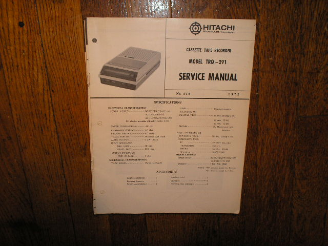 TRQ-291 Cassette Tape Recorder Service Manual