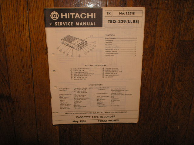 TRQ-329 U BS Cassette Tape Recorder Service Manual