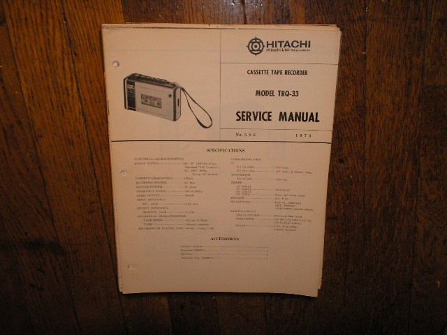 TRQ-33 Cassette Tape Recorder Service Manual