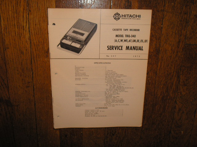 TRQ-340 A C W WE AT UK EE ES EF Cassette Tape Recorder Service Manual