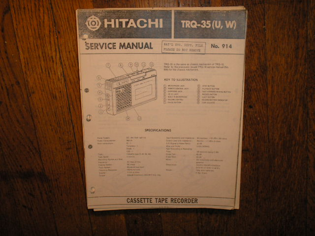 TRQ-35 U W Cassette Tape Recorder Service Manual