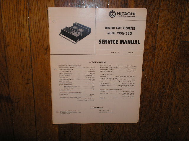TRQ-380 Reel to Reel Tape Recorder Service Manual
