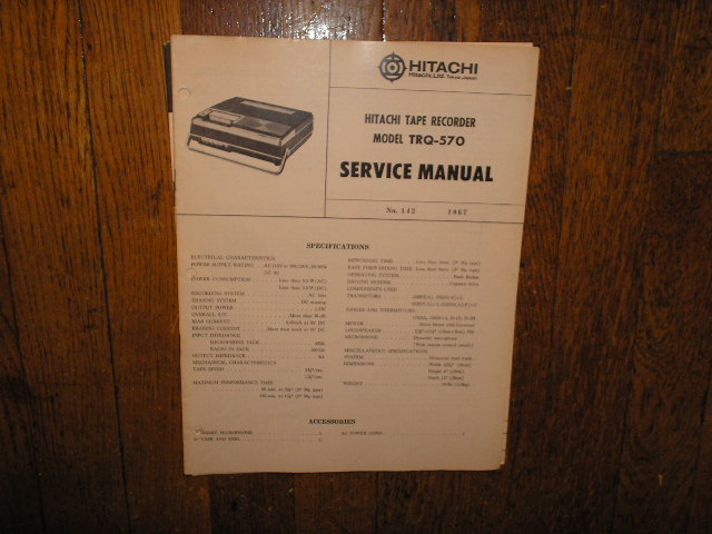 TRQ-570 Cassette Tape Recorder Service Manual
