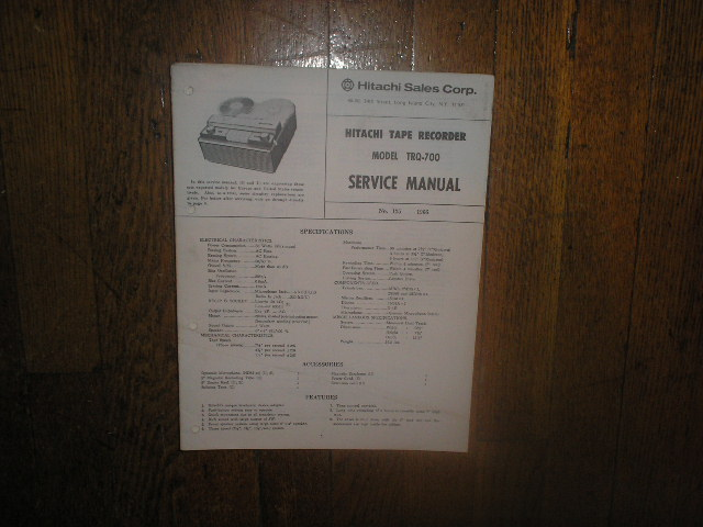 TRQ-700 Reel to Reel Tape Recorder Service Manual