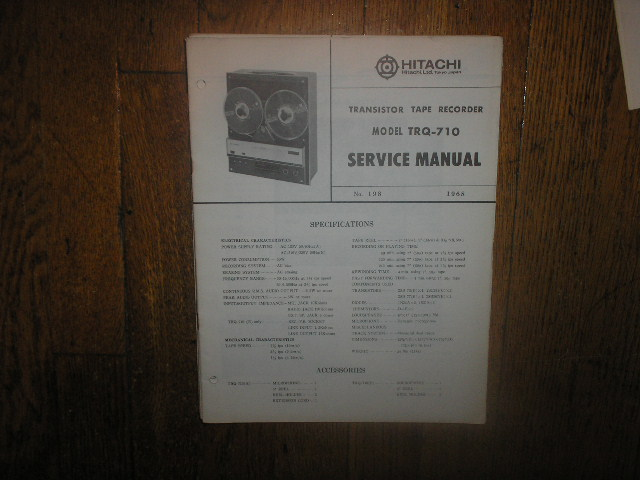 TRQ-710 Reel to Reel Tape Recorder Service Manual