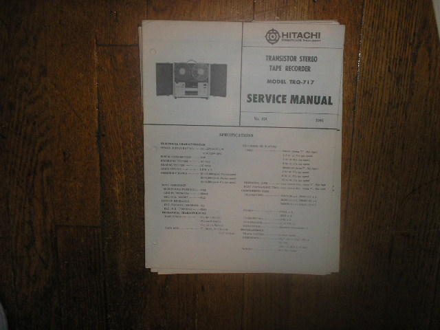 TRQ-717 Reel to Reel Tape Recorder Service Manual