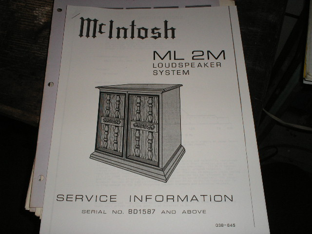 ML2M Loudspeaker Service Manual for Serial Number BD1587 and above..