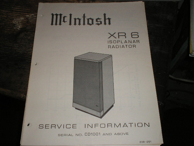 XR6  Loudspeaker Service Manual for Serial Number CD1001 and above..