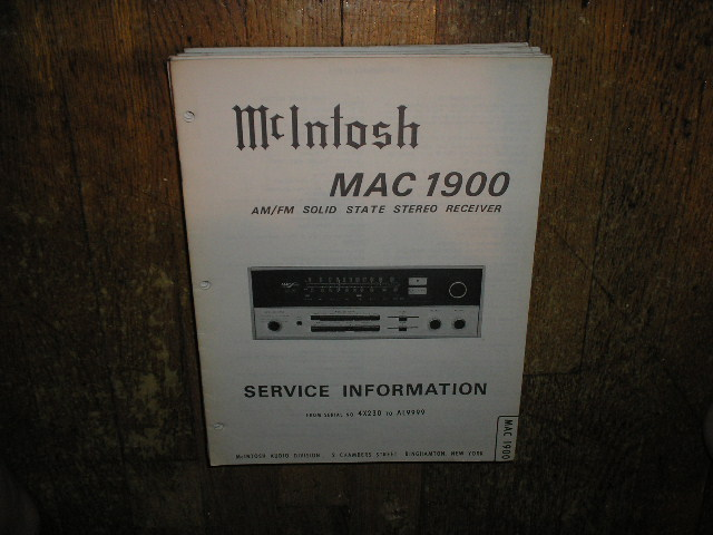 MAC 1900 Receiver Service Manual Starting with Serial No 4X230 to AL9999