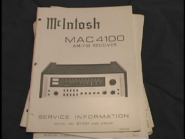 MAC 4100 Receiver Service Manual Starting with Serial No BY1001 and Above
