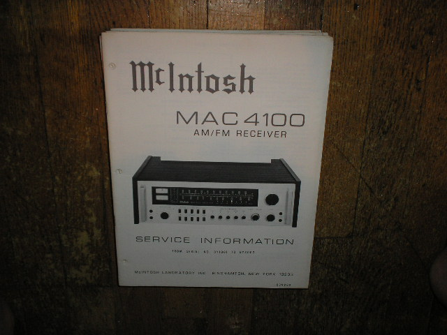 MAC 4100 Receiver Service Manual Starting with Serial No BY1001 to BY3002