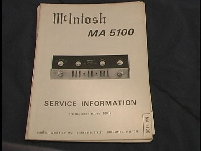 MA 5100 Pre-Amp Amplifier Service Manual Starting with Serial No 21H00
