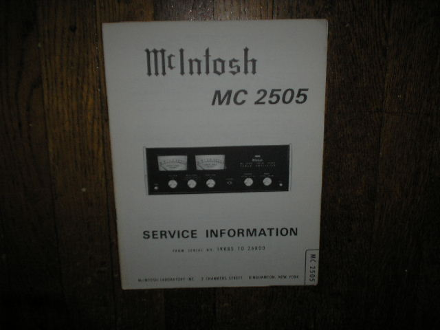 MC2505 Amplifier Service Manual for Serial No.19K85 to 26K00