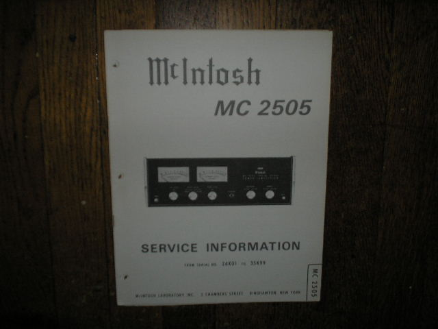 MC 2505 Amplifier Service Manual for Serial 26K01 to 35K99