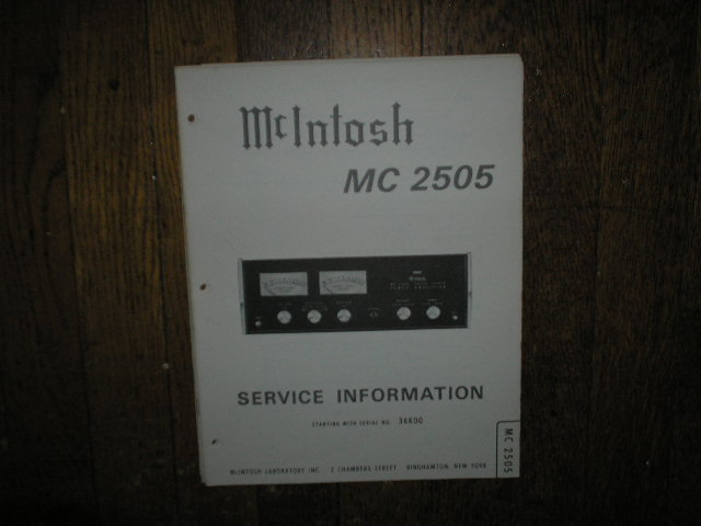 MC 2505 Amplifier Service Manual for Serial No.36K00 and Up.