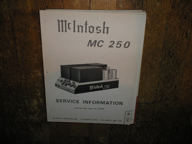 MC 250 Power Amplifier Service Manual Starting with Serial No 21L98