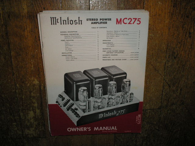 MC 275 Power Amplifier Operating Instruction Manual