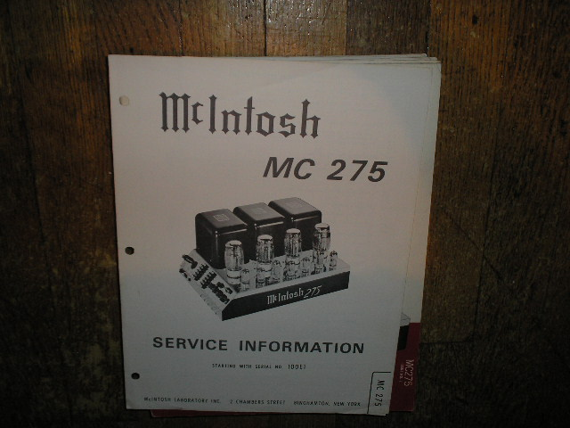 MC 275 Power Amplifier Service Manual Starting with Serial No 100E1