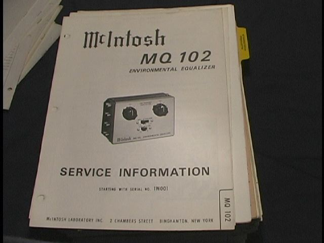 MQ102 Enviromental Equalizer Service Manual Starting With Serial # 1W001 and up.