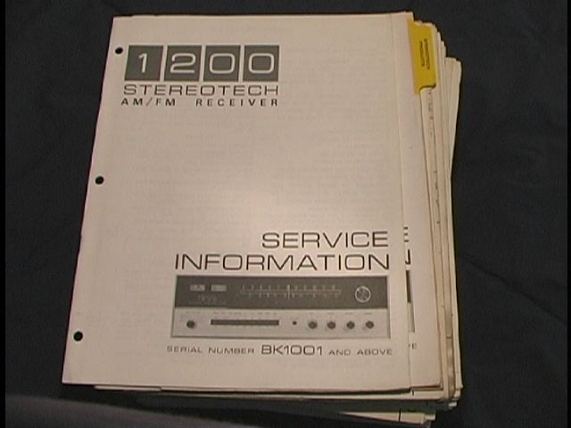 StereoTech 1200 Receiver Service Manual Starting with Serial No. BK1001