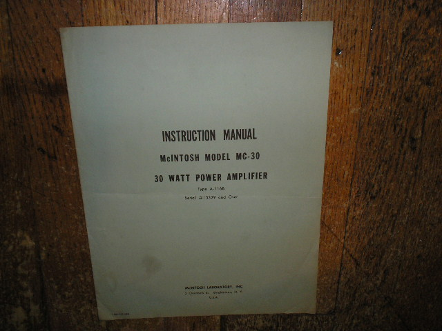 MC 30 A-116B 30 Watt Power Amplifier Service Manual Starting with Serial No 15329 and Up