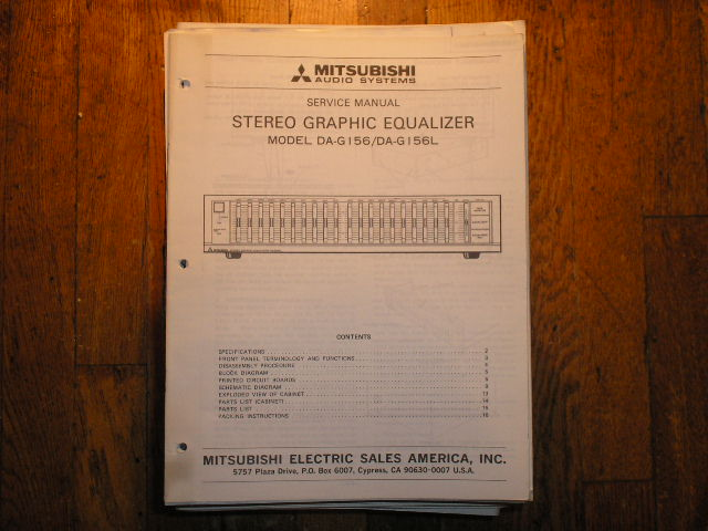 DA-G156 DA-G156L Graphic Equalizer Service Manual