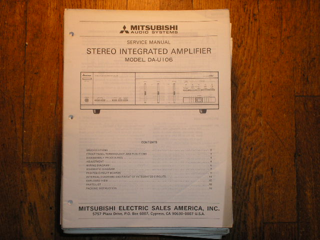 DA-U106 Amplifier Service Manual