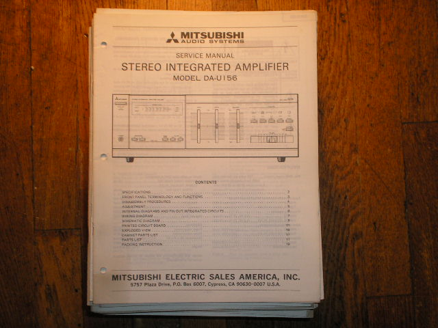 DA-U156 Amplifier Service Manual
