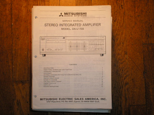 DA-U158 Amplifier Service Manual