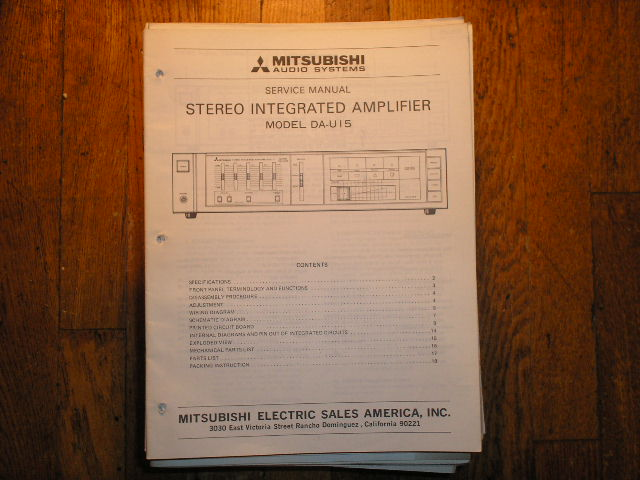 DA-U15 Amplifier Service Manual