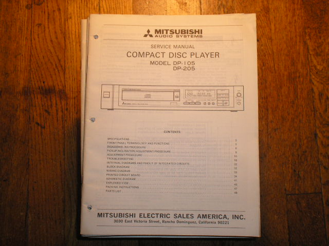 DP-105 DP-205 CD Player Service Manual