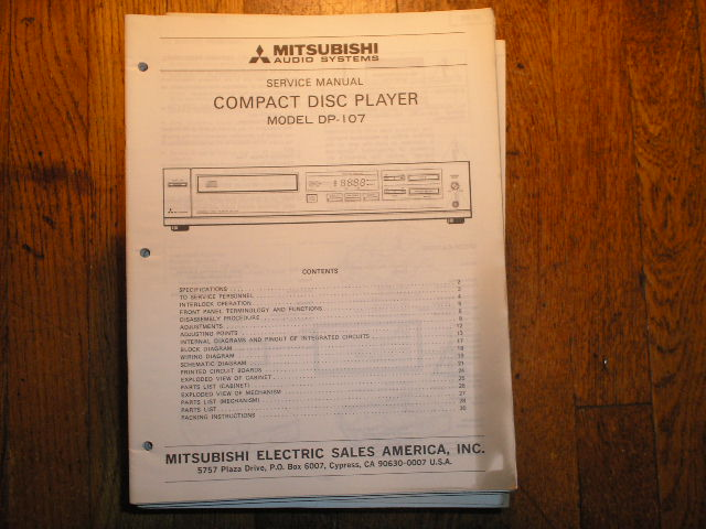 DP-107 CD Player Service Manual