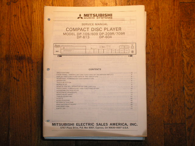 DP-109 DP-209R DP-604 DP-613 DP-709R CD Player Service Manual