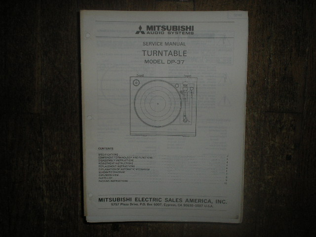 DP-37 Turntable Service Manual