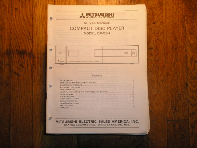 DP-504 CD Player Service Manual
