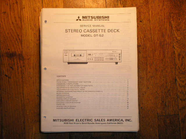DT-52 Cassette Deck Service Manual