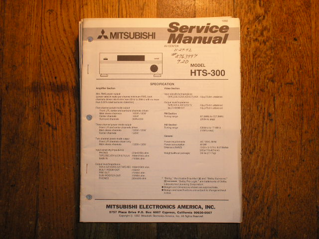 HTS-300 AV Center  Service Manual