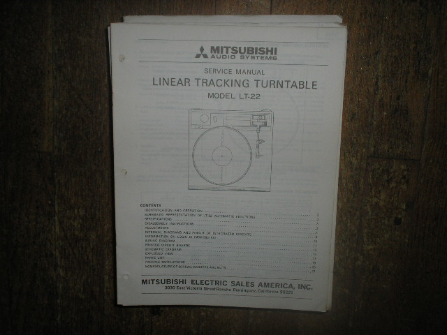LT-22 Turntable Service Manual