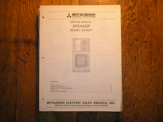 SS-62P Speaker Service Manual