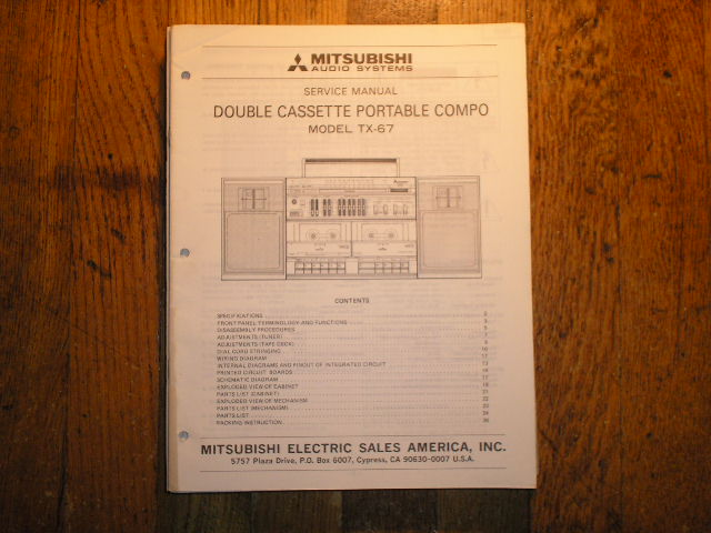 TX-67 Cassette Deck Radio Service Manual