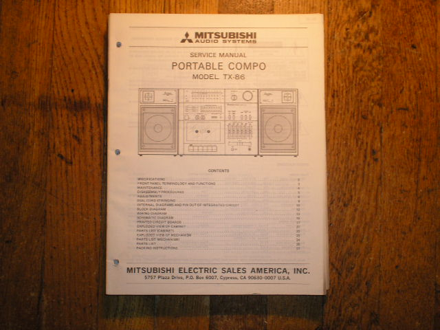 TX-86 Cassette Deck Radio Service Manual