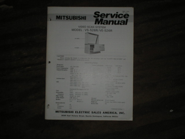 VE-526R VS-526R Projection Television Service Manual VS-035
