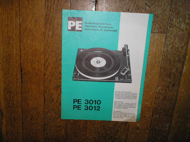 PE 3010 PE 3012 Turntable Operating Manual