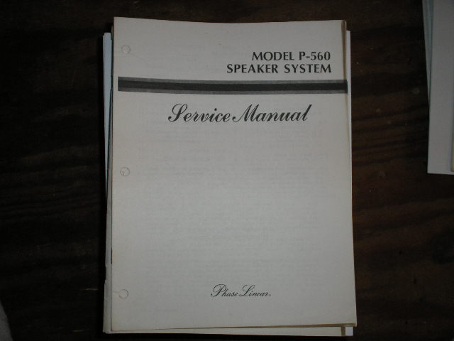 P-560 Speaker System Service Manual
